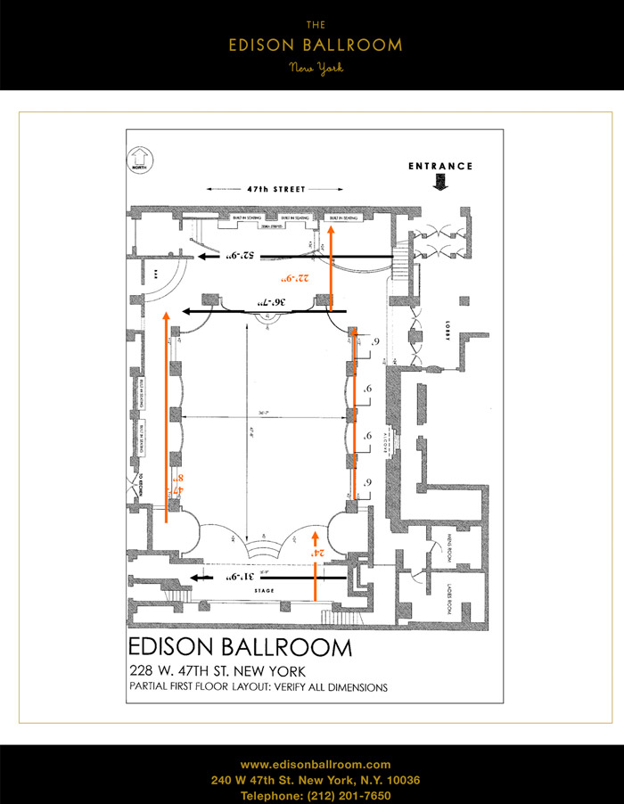 Edison ballroom new york corporate social events for Mansion floor plans with ballroom
